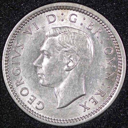 1943 George VI Silver Threepence Obv