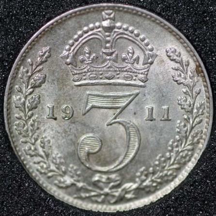 1911 George V Silver Threepence Rev