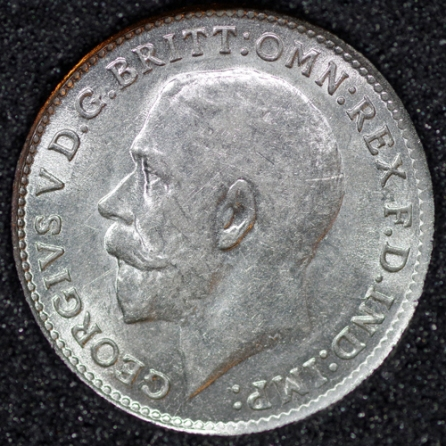 1916 George V Silver Threepence Obv