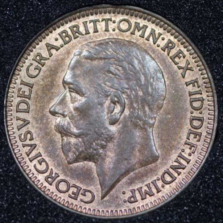1929 George V Farthing Obv