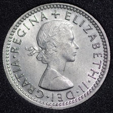 1961 Elizabeth II Sixpence Obv
