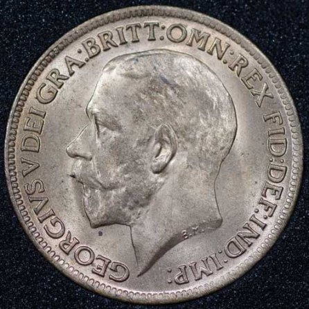 1918 George V Farthing BRIGHT Obv