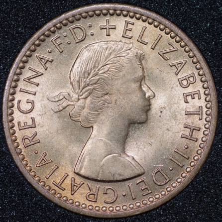 1956 Elizabeth II Farthing Obv