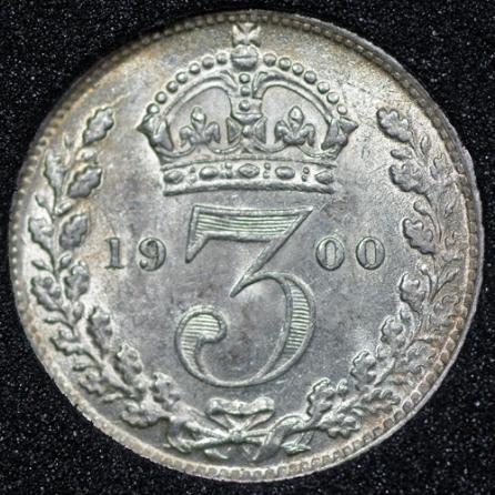 1900 Victoria Silver Threepence Rev