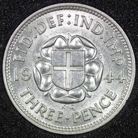 1944 George VI Silver Threepence Rev
