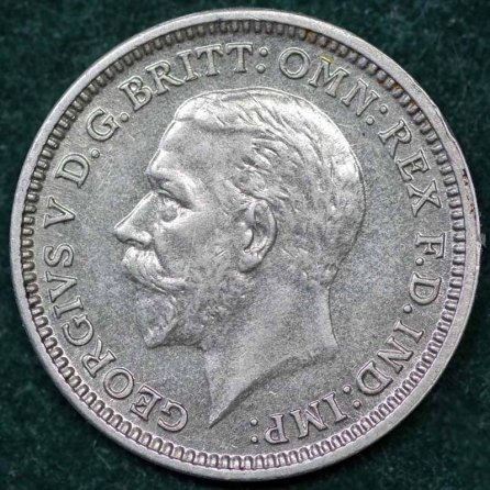 1930 George V Silver Threepence Obv 2nd