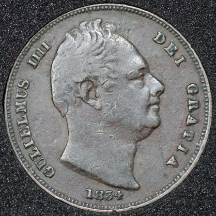 1834 William IV Farthing Obv