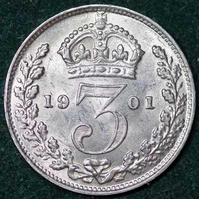 1901 Victoria Silver Threepence Rev (3)