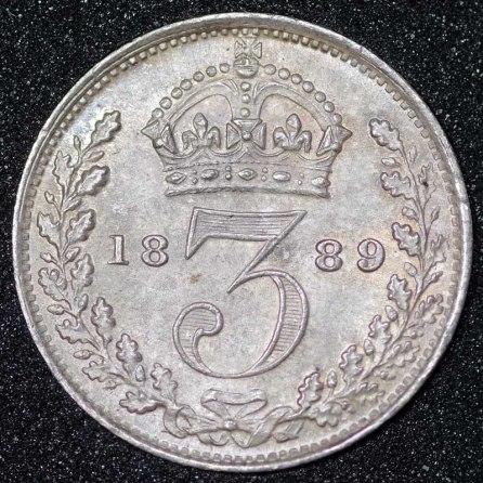 1889 Victoria Silver Threepence Rev