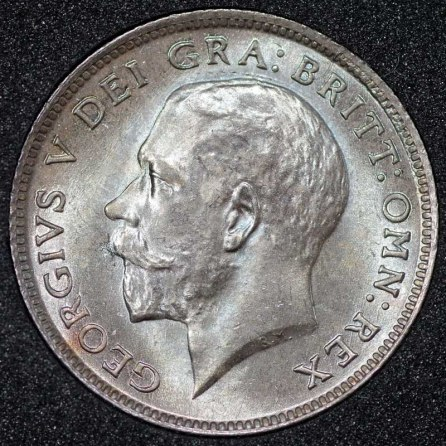 1918 George V Sixpence Obv