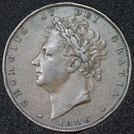 1826 George IV Farthing Obv