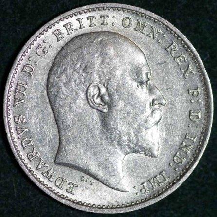 1908 Edward VII Silver Threepence Obv 800 B