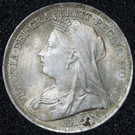 1896 Victoria Silver Threepence Obv