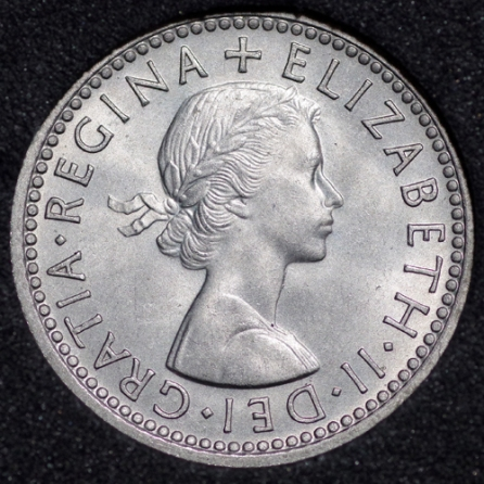 1957 Elizabeth II Sixpence Obv