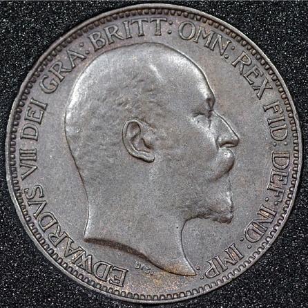 1902 Edward VII Farthing DARKENED Obv