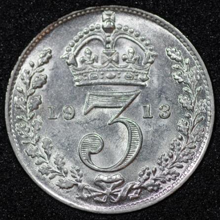 1913 George V Silver Threepence Rev