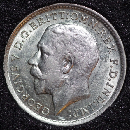 1912 George V Silver Threepence Obv