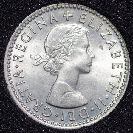 1954 Elizabeth II Sixpence Obv