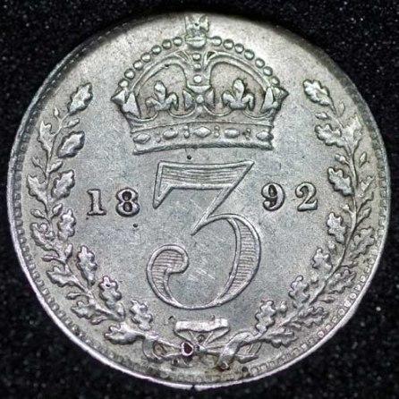 1892 Silver 3d Victoria Rev Web
