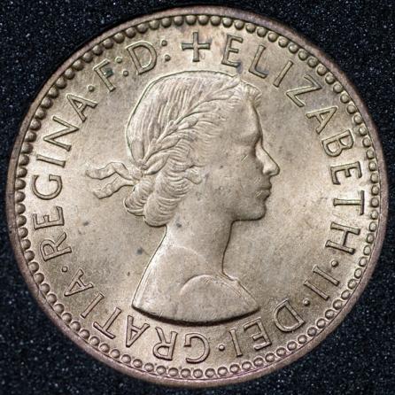 1955 Elizabeth II Farthing Obv
