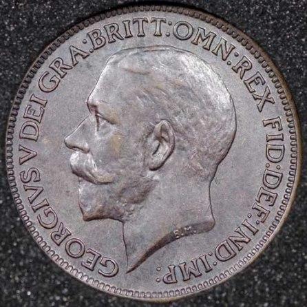 1915 George V Farthing DARKENED Obv