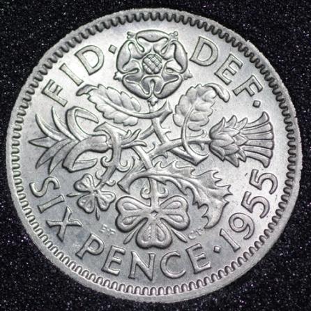1955 Elizabeth II Sixpence 1+B Rev
