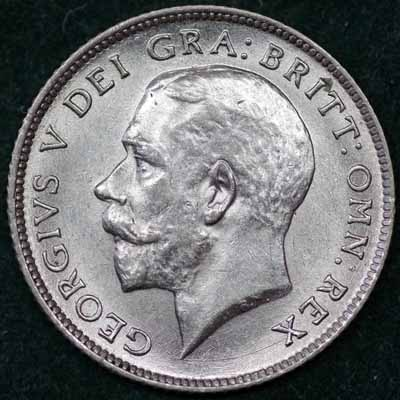 1922 George V Sixpence Obv 400