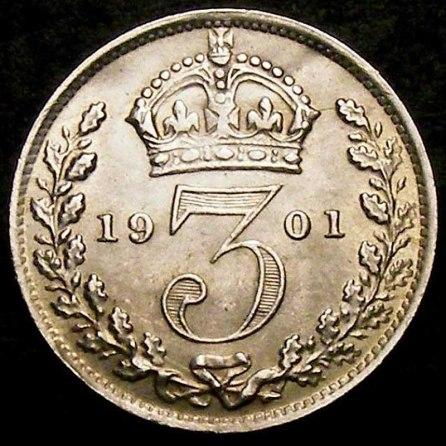 1901 Victoria Silver Threepence Rev (2)
