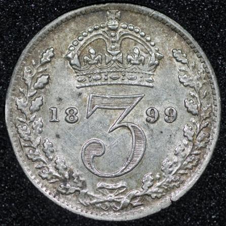 1899 Victoria Silver Threepence Rev