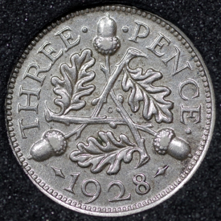 1928 George V Silver Threepence Rev