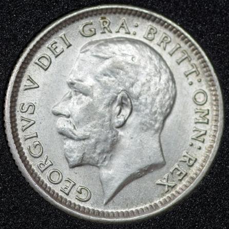 1925 George V Sixpence Broad Rim Obv