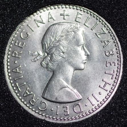1965 Elizabeth II Sixpence Obv
