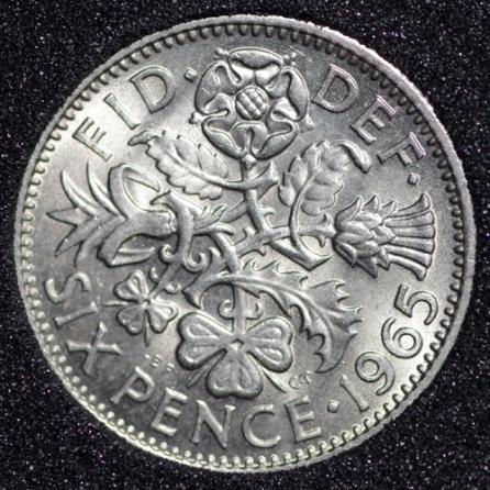 1965 Elizabeth II Sixpence Rev