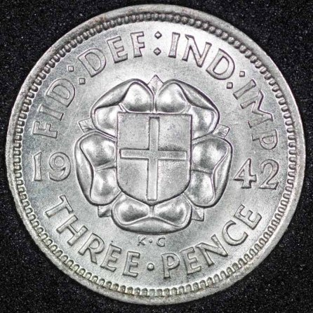 1942 George VI Silver Threepence Rev