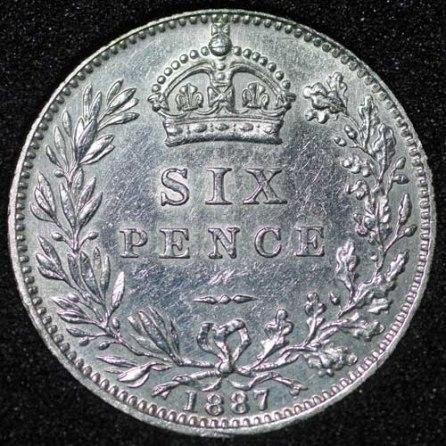 1887 Victoria Wreath Type Sixpence Rev