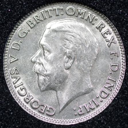 1933 George V Sixpence Obv