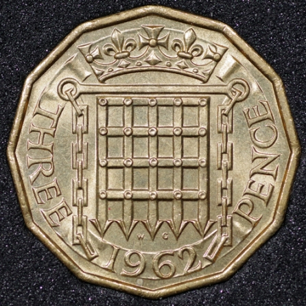 1962 Threepence Rev