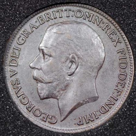 1916 George V Farthing DARKENED Obv