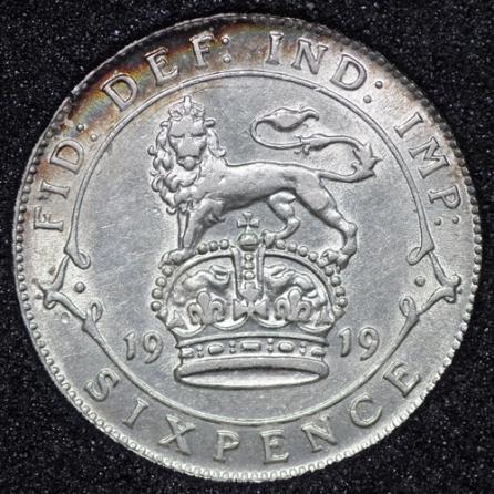 1919 George V Sixpence Rev
