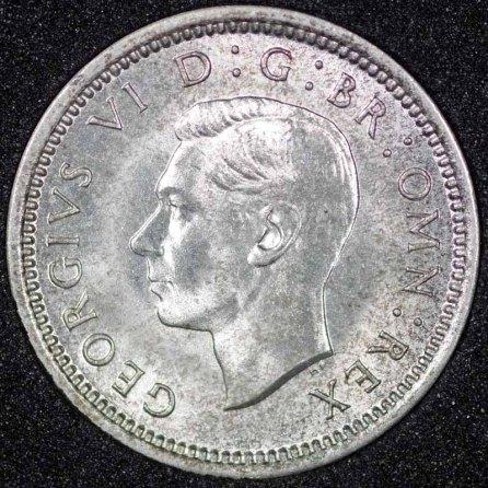 1942 George VI Silver Threepence Obv