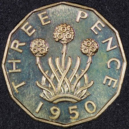 1950 George VI PROOF Threepence Rev