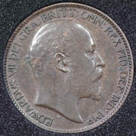 1906 Edward VII Farthing DARKENED Obv