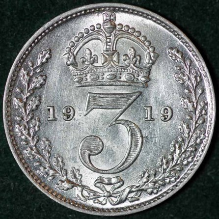 1919 George V Silver Threepence Rev B