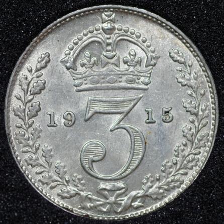 1915 George V Silver Threepence Rev
