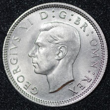 1947 George VI Sixpence Obv
