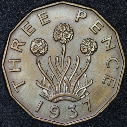 1937 George VI PROOF Threepence Brass Rev