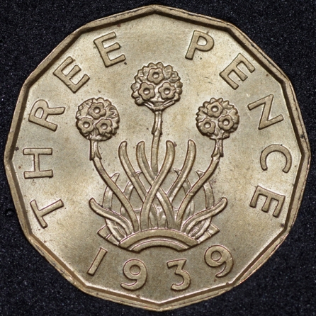 1939 George VI Threepence Rev