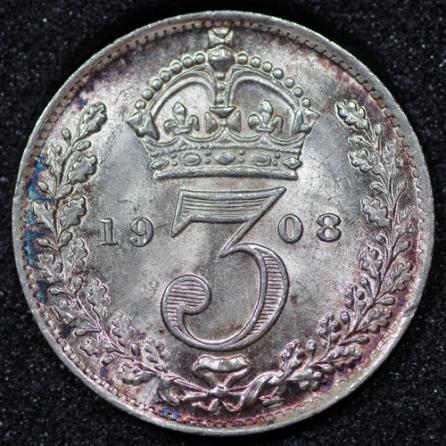 1908 Edward VII Silver Threepence Rev