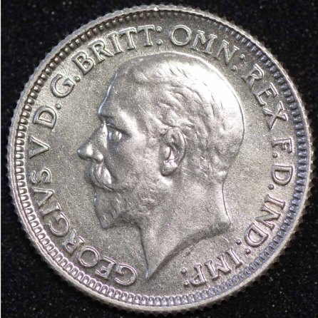 1928 George V Sixpence Obv 1