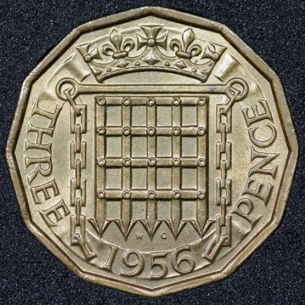 1956 Threepence Rev